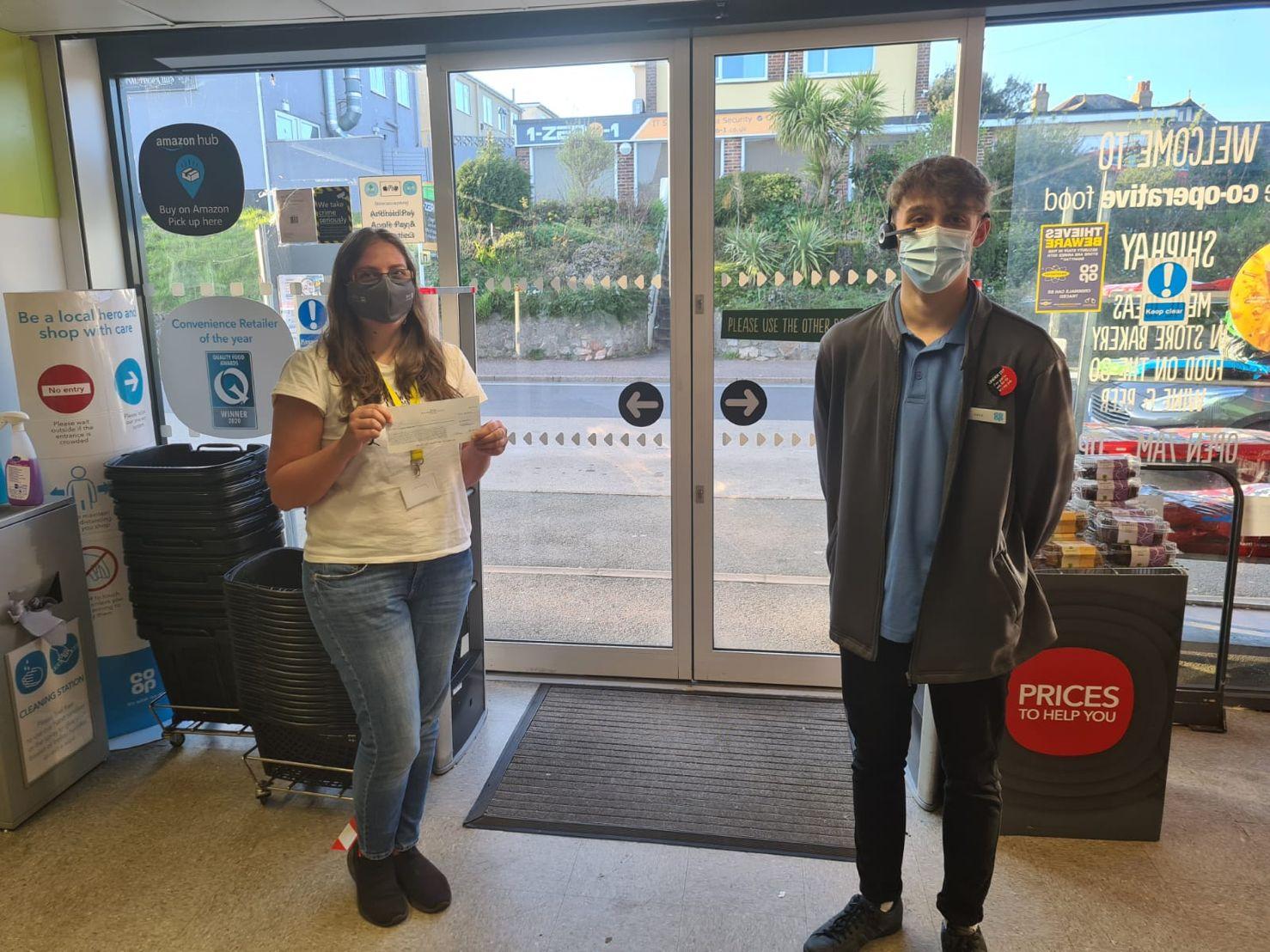 Shiphay Coop donates to Torbay Hospital Radio
